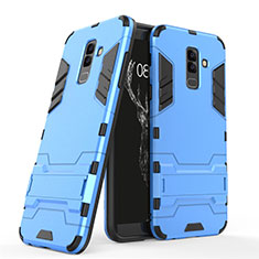 Silicone Matte Finish and Plastic Back Cover with Stand for Samsung Galaxy A6 Plus Blue