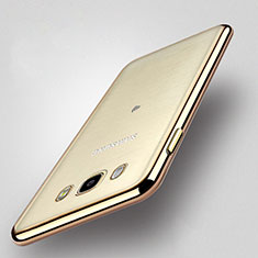 Silicone Transparent Matte Finish Frame Case for Samsung Galaxy J5 Duos (2016) Gold