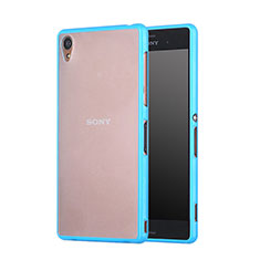 Silicone Transparent Matte Finish Frame Cover for Sony Xperia Z3 Sky Blue