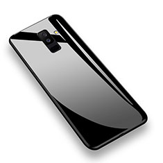 Silicone Transparent Mirror Frame Case 360 Degrees T02 for Samsung Galaxy A9 Star Lite Black