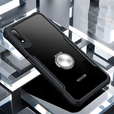 Silicone Transparent Mirror Frame Case 360 Degrees with Magnetic Finger Ring Stand for Huawei Honor 9X Black