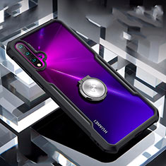Silicone Transparent Mirror Frame Case 360 Degrees with Magnetic Finger Ring Stand for Huawei Nova 5 Black