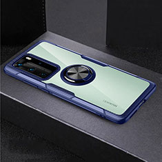 Silicone Transparent Mirror Frame Case 360 Degrees with Magnetic Finger Ring Stand for Huawei P40 Pro Blue