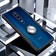 Silicone Transparent Mirror Frame Case 360 Degrees with Magnetic Finger Ring Stand for OnePlus 7 Pro Black