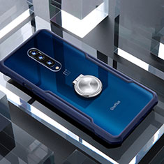 Silicone Transparent Mirror Frame Case 360 Degrees with Magnetic Finger Ring Stand for OnePlus 7 Pro Blue