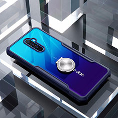 Silicone Transparent Mirror Frame Case 360 Degrees with Magnetic Finger Ring Stand for Realme X2 Pro Blue