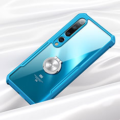 Silicone Transparent Mirror Frame Case 360 Degrees with Magnetic Finger Ring Stand for Xiaomi Mi 10 Blue