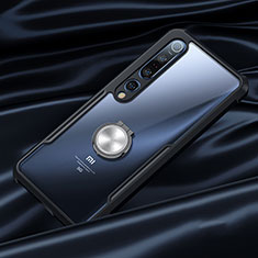 Silicone Transparent Mirror Frame Case 360 Degrees with Magnetic Finger Ring Stand for Xiaomi Mi 10 Pro Black