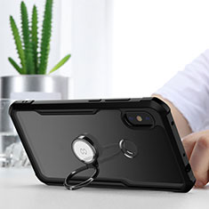 Silicone Transparent Mirror Frame Case 360 Degrees with Magnetic Finger Ring Stand for Xiaomi Redmi Note 6 Pro Black