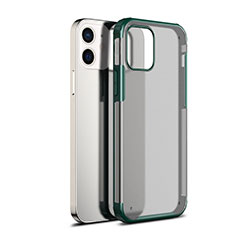 Silicone Transparent Mirror Frame Case Cover for Apple iPhone 12 Green