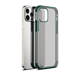 Silicone Transparent Mirror Frame Case Cover for Apple iPhone 12 Pro Green
