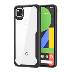 Silicone Transparent Mirror Frame Case Cover for Google Pixel 4a Black