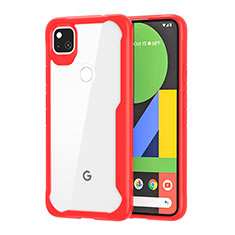 Silicone Transparent Mirror Frame Case Cover for Google Pixel 4a Red