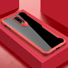 Silicone Transparent Mirror Frame Case Cover for OnePlus 6T Red