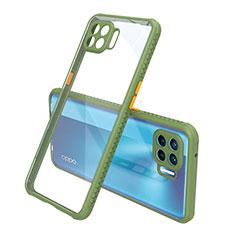 Silicone Transparent Mirror Frame Case Cover for Oppo Reno4 F Green