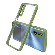 Silicone Transparent Mirror Frame Case Cover for Realme 7 Green