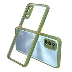 Silicone Transparent Mirror Frame Case Cover for Realme 7 Pro Green