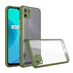Silicone Transparent Mirror Frame Case Cover for Realme C11 Green