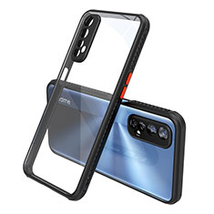 Silicone Transparent Mirror Frame Case Cover for Realme Narzo 20 Pro Black