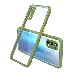 Silicone Transparent Mirror Frame Case Cover for Realme X7 Pro 5G Green