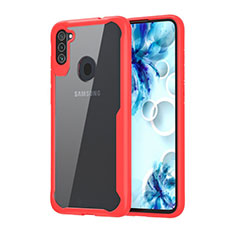 Silicone Transparent Mirror Frame Case Cover for Samsung Galaxy A11 Red