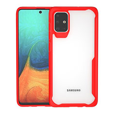 Silicone Transparent Mirror Frame Case Cover for Samsung Galaxy A71 5G Red