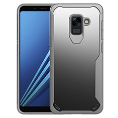 Silicone Transparent Mirror Frame Case Cover for Samsung Galaxy A8+ A8 Plus (2018) Duos A730F Gray