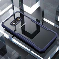 Silicone Transparent Mirror Frame Case Cover for Samsung Galaxy S10e Blue