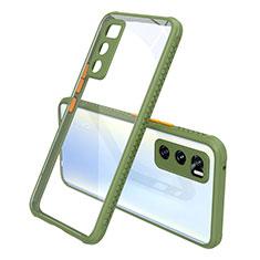 Silicone Transparent Mirror Frame Case Cover for Vivo V20 SE Army green
