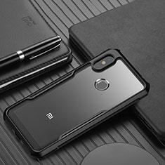 Silicone Transparent Mirror Frame Case Cover for Xiaomi Redmi Note 6 Pro Black
