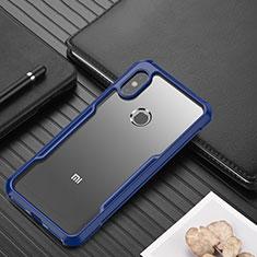 Silicone Transparent Mirror Frame Case Cover for Xiaomi Redmi Note 6 Pro Blue