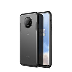 Silicone Transparent Mirror Frame Case Cover H01 for OnePlus 7T Black