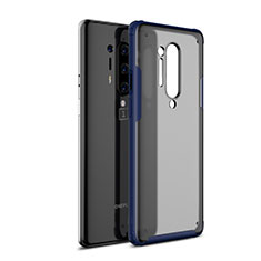 Silicone Transparent Mirror Frame Case Cover H01 for OnePlus 8 Pro Blue