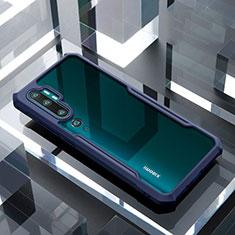 Silicone Transparent Mirror Frame Case Cover H01 for Xiaomi Mi Note 10 Blue