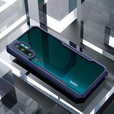 Silicone Transparent Mirror Frame Case Cover H01 for Xiaomi Mi Note 10 Pro Blue