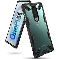 Silicone Transparent Mirror Frame Case Cover H02 for OnePlus 8 Black
