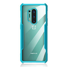 Silicone Transparent Mirror Frame Case Cover H03 for OnePlus 8 Pro Cyan
