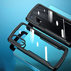 Silicone Transparent Mirror Frame Case Cover H03 for Oppo Find X2 Pro Black