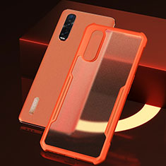 Silicone Transparent Mirror Frame Case Cover H04 for Oppo Find X2 Pro Orange