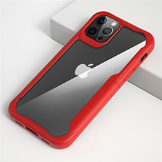 Silicone Transparent Mirror Frame Case Cover M01 for Apple iPhone 12 Pro Red
