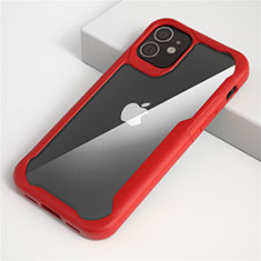Silicone Transparent Mirror Frame Case Cover M01 for Apple iPhone 12 Red