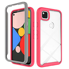 Silicone Transparent Mirror Frame Case Cover M01 for Google Pixel 4a Red