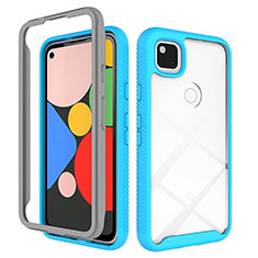 Silicone Transparent Mirror Frame Case Cover M01 for Google Pixel 4a Sky Blue