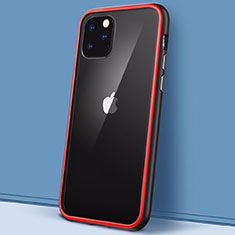 Silicone Transparent Mirror Frame Case Cover M02 for Apple iPhone 11 Pro Red