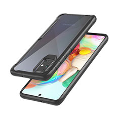 Silicone Transparent Mirror Frame Case Cover M02 for Samsung Galaxy A71 5G Black