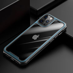 Silicone Transparent Mirror Frame Case Cover M03 for Apple iPhone 12 Pro Max Blue