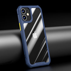 Silicone Transparent Mirror Frame Case Cover M04 for Apple iPhone 12 Blue