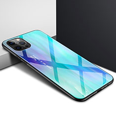 Silicone Transparent Mirror Frame Case Cover N01 for Apple iPhone 12 Pro Max Cyan