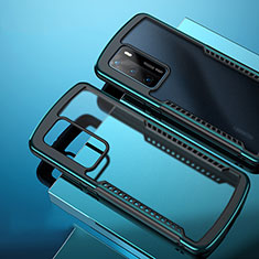 Silicone Transparent Mirror Frame Case Cover N01 for Huawei P40 Cyan