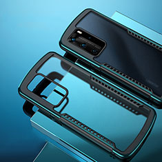 Silicone Transparent Mirror Frame Case Cover N01 for Huawei P40 Pro Cyan